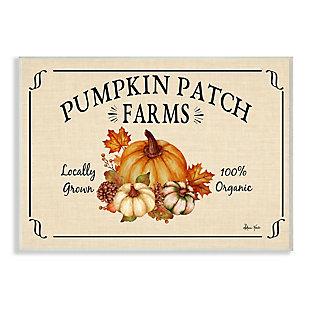 Stupell Industries  Traditional Pumpkin Patch Farm Sign Tan Orange, 10 x 15, Wood Wall Art, , large