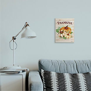 Stupell Industries  Rustic Thankful Text Colorful Pumpkin Harvest, 10 x 15, Wood Wall Art, , rollover