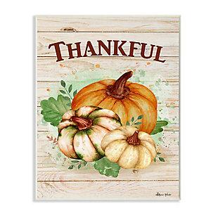 Stupell Industries  Rustic Thankful Text Colorful Pumpkin Harvest, 10 x 15, Wood Wall Art, , large