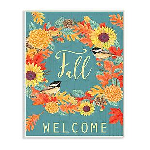 Stupell Industries  Fall Welcome Autumn Harvest Wreath Birds, 10 x 15, Wood Wall Art, , large