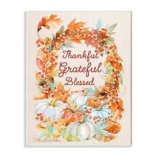 Stupell Industries  Thankful Grateful Blessed Text Autumn Harvest, 10 x 15, Wood Wall Art, , large
