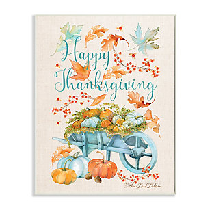 Stupell Industries  Happy Thanksgiving Phrase Holiday Pumpkin Wagon, 10 x 15, Wood Wall Art, , large
