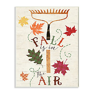 Stupell Industries  Fall Is In the Air Phrase Autumn Garden Rake, 10 x 15, Wood Wall Art, , large