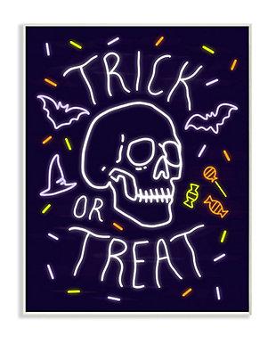 Stupell Industries  Trick or Treat Halloween Phrase Spooky Skeleton, 10 x 15, Wood Wall Art, , large
