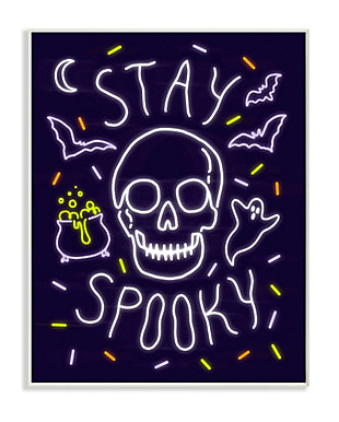 Stupell Industries  Stay Spooky Quote Halloween Theme Skeleton, 10 x 15, Wood Wall Art, , large