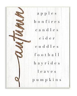 Stupell Industries  Autumn Harvest Season Checklist Country Charm, 10 x 15, Wood Wall Art, , large