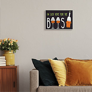 Stupell Industries  Here for the Boos Phrase Halloween Ghost Pun, 10 x 15, Wood Wall Art, , rollover
