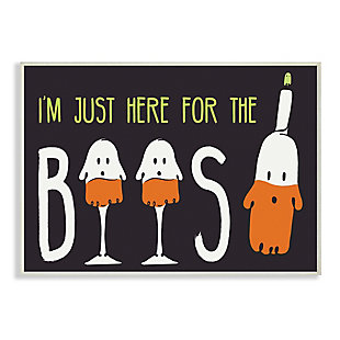 Stupell Industries  Here for the Boos Phrase Halloween Ghost Pun, 10 x 15, Wood Wall Art, , large