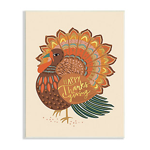 Stupell Industries  Happy Thanksgiving Festive Orange Wild Turkey Patterned, 10 x 15, Wood Wall Art, , large