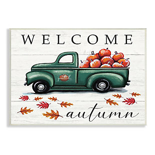 Stupell Industries  Green Farm Truck Autumn Apple Harvest Welcome Sign, 10 x 15, Wood Wall Art, , large