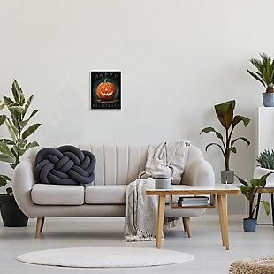 Stupell Industries  Happy Halloween Happy Jack-O-Lantern Smile Festive, 10 x 15, Wood Wall Art, , rollover