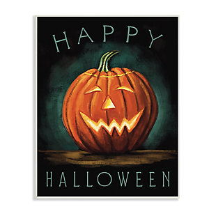 Stupell Industries  Happy Halloween Happy Jack-O-Lantern Smile Festive, 10 x 15, Wood Wall Art, , large