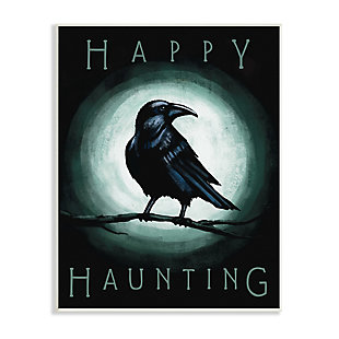 Stupell Industries  Happy Hauntings Phrase Black Crow Perched Festive Halloween, 10 x 15, Wood Wall Art, , large