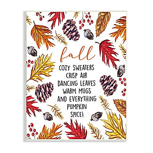 Stupell Industries  List of Fall Favorites Autumn Forest Foliage Wreath, 10 x 15, Wood Wall Art, , large