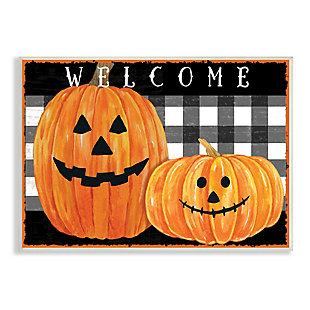 Stupell Industries  Festive Halloween Welcome Sign Happy Pumpkins Black Plaid, 10 x 15, Wood Wall Art, , large