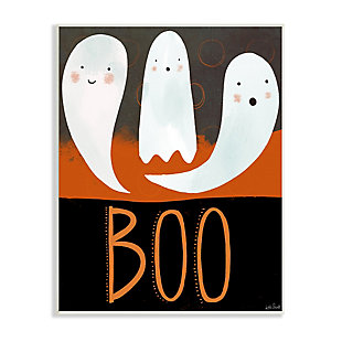 Stupell Industries  Boo Halloween Festive Phrase Whimsical Happy Ghosts, 10 x 15, Wood Wall Art, , large