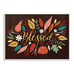 Stupell Industries  Blessed Acknowledgement Whimsical Autumn Leaves and Gourds, 10 x 15, Wood Wall Art, , large