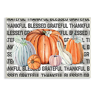 Stupell Industries  Thankful Grateful Blessed Typography Grey Plaid Farm Pumpkins, 10 x 15, Wood Wall Art, , large