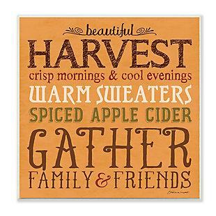 Stupell Industries  Beautiful Harvest Fall Autumn Seasonal Word Design, 12 x 12, Wood Wall Art, , large