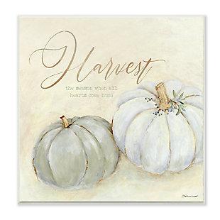 Stupell Industries  Harvest Grey Pumpkins Autumn Fall Seasonal Word Design, 12 x 12, Wood Wall Art, , large