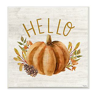 Stupell Industries  Hello Pumpkin Autumn Pinecone Orange Brown Fall Seasonal, 12 x 12, Wood Wall Art, , large