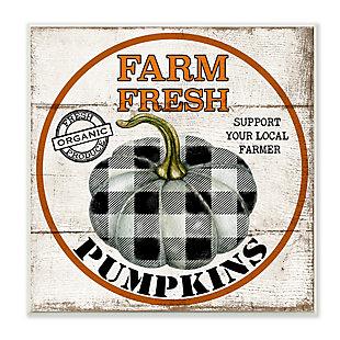 Stupell Industries  Farm Fresh Pumpkins Black and White Plaid, 12 x 12, Wood Wall Art, , large