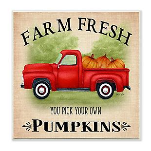Stupell Industries  Farm Fresh Pumpkins Red Farm Truck Illustration, 12 x 12, Wood Wall Art, , large