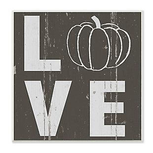 Stupell Industries  Bold Love Text Distressed Pumpkin Symbol, 12 x 12, Wood Wall Art, , large