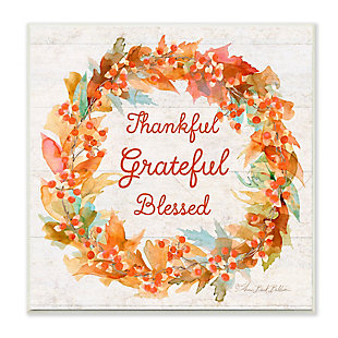 Stupell Industries  Autumn Foliage Wreath Thankful Grateful Blessed Text, 12 x 12, Wood Wall Art, , large