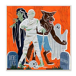 Stupell Industries  Spooky Halloween Monsters Orange Graveyard Ghost, 12 x 12, Wood Wall Art, , large