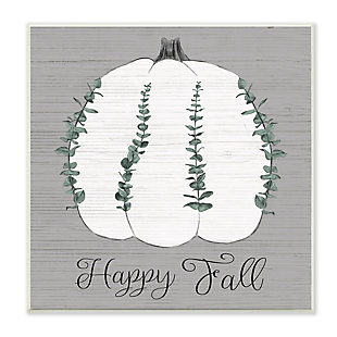 Stupell Industries  Happy Fall Pumpkin with Green Eucalyptus Detail , 12 x 12, Wood Wall Art, , large