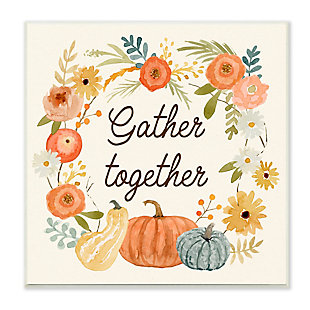 Stupell Industries  Gather Together Phrase Orange Floral Wreath Pumpkin Gourd, 12 x 12, Wood Wall Art, , large