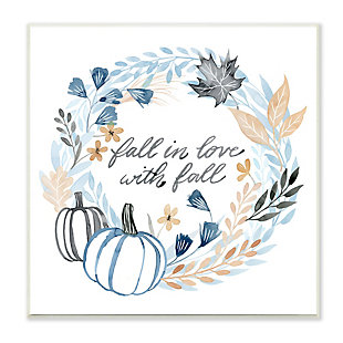 Stupell Industries  In Love with Fall Blue Autumn Foliage Wreath , 12 x 12, Wood Wall Art, , large