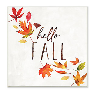 Stupell Industries  Hello Fall Autumn Tree Leaves Seasonal Statement, 12 x 12, Wood Wall Art, , large