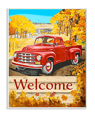 Stupell Industries  Welcome Red Truck Fall Autumn Landscape Design, 13 x 19, Wood Wall Art, , large