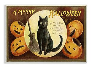 Stupell Industries  A Merry Halloween Pumpkins And Black Cat Seasonal Holiday Design, 13 x 19, Wood Wall Art, , large