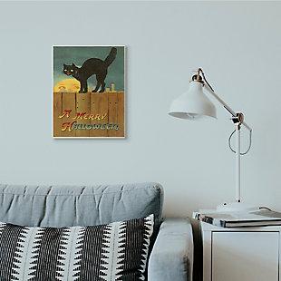 Stupell Industries  A Merry Halloween Black Cat Fence Seasonal Holiday Design, 13 x 19, Wood Wall Art, , rollover