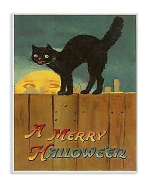 Stupell Industries  A Merry Halloween Black Cat Fence Seasonal Holiday Design, 13 x 19, Wood Wall Art, , large