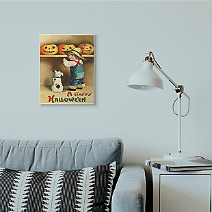 Stupell Industries  A Happy Halloween Child and Dog Seasonal Holiday Design, 13 x 19, Wood Wall Art, , rollover