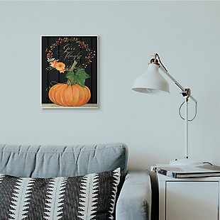 Stupell Industries  Give Thanks Pumpkin Fall Autumn Seasonal Design, 13 x 19, Wood Wall Art, , rollover
