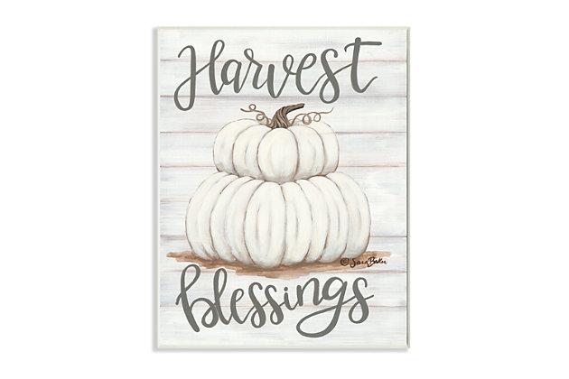 Stupell Industries  Farm Fresh Harvest Blessing Sign White Pumpkins, 13 x 19, Wood Wall Art, , large