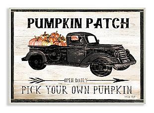 Stupell Industries  Pumpkin Patch Farm Sign Fall Harvest Picking, 13 x 19, Wood Wall Art, , large