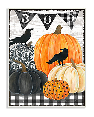 Stupell Industries  Whimsical Halloween Scene Farm Table Pumpkin Crows, 13 x 19, Wood Wall Art, , large