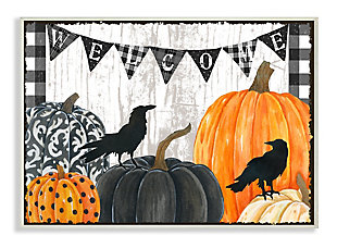 Stupell Industries  Welcome Halloween Sign Painted Pumpkin Designs , 13 x 19, Wood Wall Art, , large