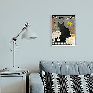 Stupell Industries  Halloween Black Cat Welcome Sign Autumn Farmhouse Charm, 13 x 19, Wood Wall Art, , rollover