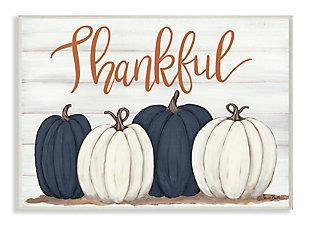 Stupell Industries  Autumn Farm Pumpkin Harvest with Thankful Phrase, 13 x 19, Wood Wall Art, , large