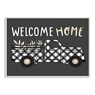 Stupell Industries  Grey Autumn Harvest Truck Welcome Home Text , 13 x 19, Wood Wall Art, , large