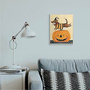Stupell Industries  Vintage Carved Pumpkin Halloween Dog Illustration, 13 x 19, Wood Wall Art, , rollover