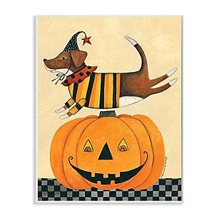 Stupell Industries  Vintage Carved Pumpkin Halloween Dog Illustration, 13 x 19, Wood Wall Art, , large
