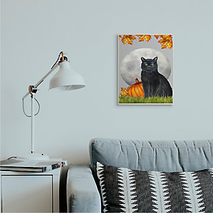 Stupell Industries  Black Cat and Full Moon Autumn Leaves Pumpkins, 13 x 19, Wood Wall Art, , rollover